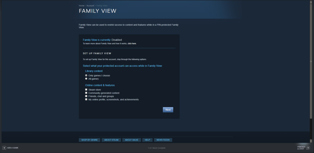 "Screen grab of Steam ""Family View"""