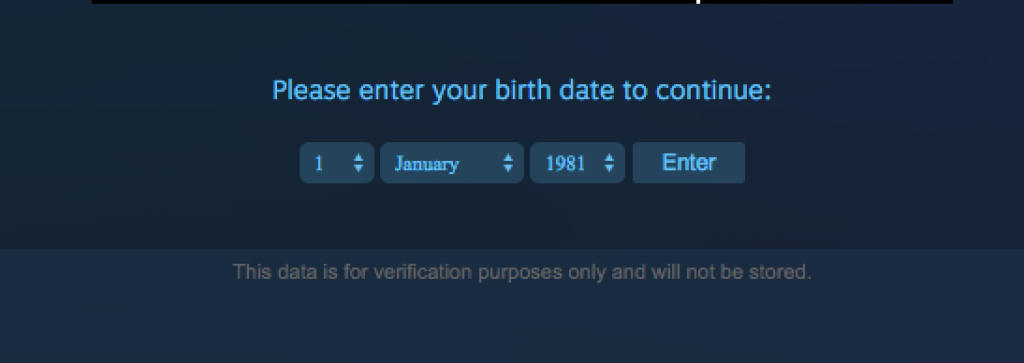 Screen grab of Steam age verifier