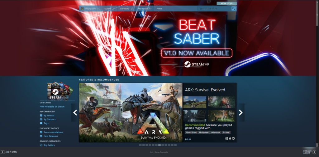 screen grab of a page from the Steam store